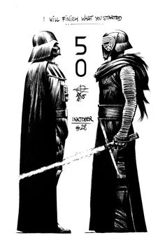 Darth Vader and Kylo Ren sketch by Renaud Roche