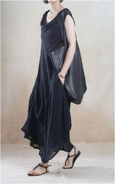 Linen Dress in Black