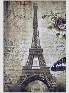 Paris Eiffel Tower Shower Curtain Waterproof Bathroom Curtain 72 X 72 Inch