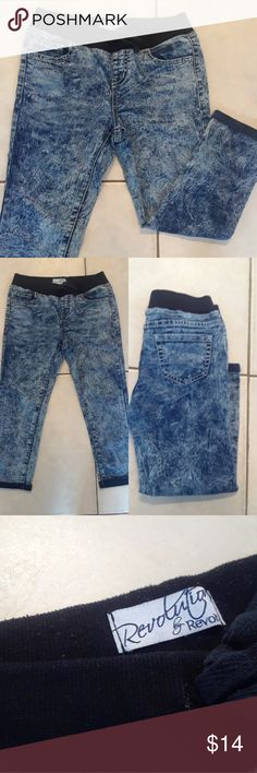 Revolution & Revolt PunkRock Stretch Jeans Kids 12 Revolution & Revolt Punk Rock Stretch Jeans Kids 12 Totally badass stretchy rocker jeans for girls.  Great condition,  a little pilling at waist band almost entirely on the inside,  shown in third pic. Revolution & Revolt Bottoms Jeans