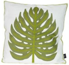 Spiceberry Embroidered Throw Pillow Cover - Mid Century Ivy Leaf Design - Avocad
