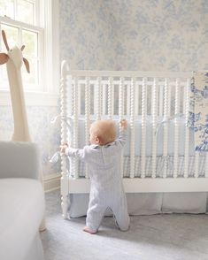 Sweet and traditional baby boy blue and white nursery room design boy Baby Blue Nursery, White Nursery, Baby Boy Rooms, Baby Boy Nurseries, Nursery Room, Girl Nursery, Elegant Baby Nursery, Baby Boys, Nursery Decor