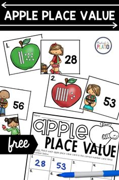 Place value is such an important math concept for early learners because it builds a solid foundation of number sense. This apple-themed place value match up will be the perfect addition to your small group math instruction or your math centers this fall! Apple Activities, Literacy Activities, Place Value Cards, Playdough To Plato, Math Concepts, Place Values, Number Sense, Science Experiments, Math Centers