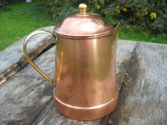 French Copper Classic Coffee Pot with Brass by NormandyKitchen, €26.00
