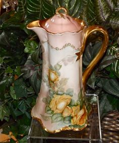 Haviland Limoges Lovely Blush Inspired Ranson Chocolate Pot with Yellow Roses and Blue Enameling