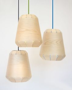 Frigg Pendant Lamps Of Natural Wood Veneer And Colorful Textile