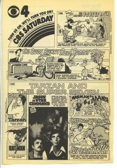 1978 CBS Tv guide Ad Saturday Morning Tarzan Batman Popeye Jason Star Command
