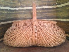 24in long x 20in wide. Large 2 Ft Wide Early Old Primitive Splint Oak Gathering Basket #NaivePrimitive