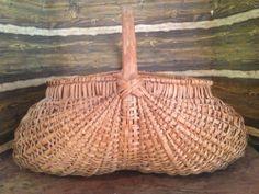 Early Old Primitive Splint Oak Gathering Basket
