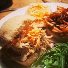 Ok I can't help digging in now, Monster infused pulled pork sliders with coke spiked barbecue sauce, coleslaw and of course, a little rocket salad to go with it. Hope you enjoy the rest of your Sunday, and have an awesome week starting TOMORROW!
