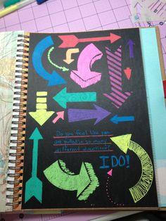 Smash book page using Sakura Moonlight Jelly roll pens
