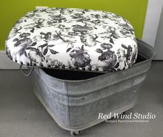 A cushion and wheels quickly convert a tub into a handy, portable ottoman. Use one outdoors to store a garden hose, pillows, and gardening tools.