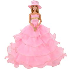 E-TING Fashion Pink Doll Clothes Evening Party Dress Ball Gown Hat for Barbie Dolls