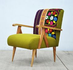 Wooden Armchair Green Love By Namedesignstudio On Etsy