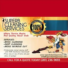 Superb Cleaning Services Houston's #1 cleaning service #Think #Superb #Cleaning #Services #Book #Your #Package #Today #With #The #Superb #Team #We #Get #The #Job #Done Cleaning Services, Moving Out, Deep Cleaning, Packaging, Book, Quotes, Housekeeping, Quotations, Maid Services