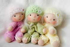 Three tiny little Waldorf inspired Baby Dolls - Waldorf doll