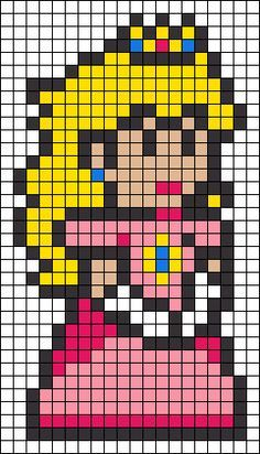 Minions, Search, Princess Peach Cross Stitch, Perler Beads, Alpha Patterns, Princess Peach Perler