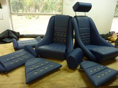 our R seats in blue leatherette w blue basket weave, grommets ,headrest and rear seats