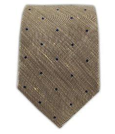 """Linen Blend Bulletin Dot Light Champagne 2"""" Skinny Tie"""