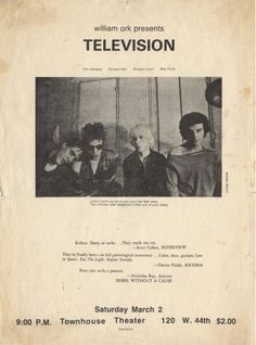 "Early flyer for Television (w/Richard Hell) ""Sharp as tacks...They make me cry"""