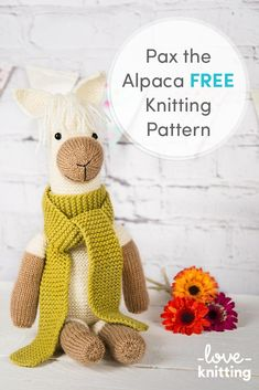 FREE Pax the Alpaca Knitting Pattern. Knit the lovely Pax as a toy for your little one or as a super cute decoration! Download the free pattern on LoveKnitting.com