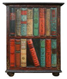 Huntley & Palmer's bookcase novelty biscuit tin shaped like fake bookshelves full of books, c. 1905, UK