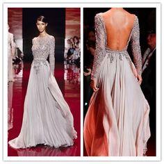 Elegant Long Sleeve High Neck Prom Dresses 2014 Zuhair Murad Evening Dresses Open Back vestidos de fiesta