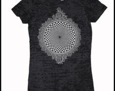 Women's Mirror Mirror Mandala Burnout Tee Shirt Psychedelic Sacred Geometry Screen Print