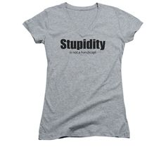 Stupidity Juniors Sheer Cap Sleeve V-Neck T-Shirt