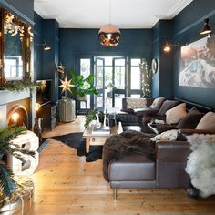 Deep blue Christmas living room