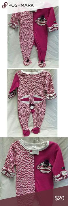"""Sozo Monkey One-Piece Feetie Pajamas Made by Sozo  Size 0-3 Months  to 12lbs and 23""""  NWT - Only partial price tag still attached  Machine wash Sozo Pajamas"""