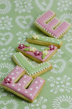 Name cookies~ By Juliet Stallwood Cakes and Biscuits, pink, green, letters Fancy Cookies, Iced Cookies, Cute Cookies, Royal Icing Cookies, Cupcake Cookies, Sugar Cookies, Baking Cookies, Cookies Decorados, Galletas Cookies