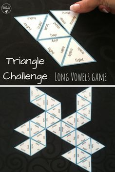 Triangle Challenge Long Vowels – Teach Me Mommy Triangle challenge, long vowels. Fun (free) printable game to revise long vowels with older kids! Dyslexia Activities, Dyslexia Teaching, Vowel Activities, Kids Learning Activities, Teaching Ideas, Elementary Teaching, English Activities, Phonics Games, Vocabulary Games