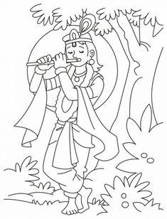 shri krishna janmashtami coloring printable pages for kid _38 - Printable Kids Coloring