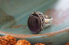 Boho Ring US size 7 Amethyst Ring Cocktail Ring by Sonajewelry