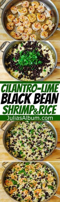 Cilantro-Lime Black Bean Shrimp and Rice - healthy, gluten free recipe. #dessertfoodrecipes