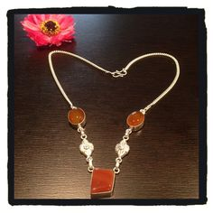 NewSterling Silver Dark Amber Necklace NewSterling Silver 925 Dark Amber Necklace Jewelry Necklaces