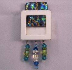 ARTiFILL - Gallery Pendant with fused glass & beaded fringe. Interchangeable silver jewelry finding.  www.ARTiFILL.com