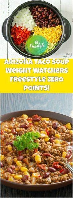 Arizona Taco Soup Weight Watchers Freestyle ZERO POINTS! | weight watchers recipes | Page 2 Ww Taco Soup Recipe, Weight Watchers Black Bean Soup Recipe, Weight Watcher Crockpot Recipes, Weight Watchers Freezer Meals, Weight Watchers Food, Weight Watcher Taco Soup, Fast Meals, Crockpot Meals, Wieght Watchers