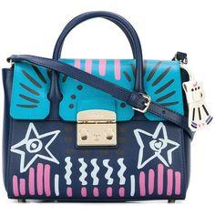 Furla Metropolis Satchel (9.544.035 VND) ❤ liked on Polyvore featuring bags, handbags, blue, genuine leather purse, blue handbags, satchel purses, blue purse and handbag satchel