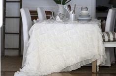 ruffle table cloth+ teacup centerpiece= my dream table spread.