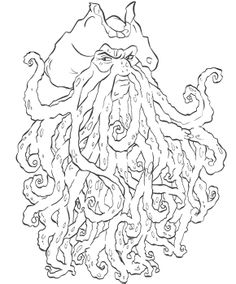 davy jones pirates of the caribbean coloring page