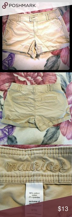 Maurices Cargo Shorts NWOT - Cute and functional Maurices tan cargo shorts with double buttons and zipper. Comes with spare button. There are some strings hanging from the belt loop. Please see photo. Inseam is 4 inches. Maurices Shorts Cargos