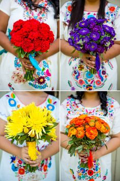 These mono-botanical arrangements work great with the patterned dresses Cinco de Mayo Wedding