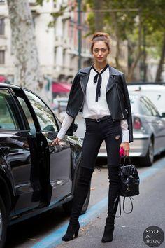 Milan Fashion Week SS 2016 Street Style: Zhenya Katava - STYLE DU MONDE | Street Style Street Fashion Photos