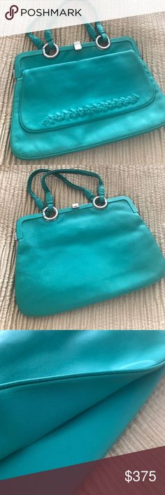 Bottega Veneta Handbag Beautiful turquoise green handbag gently used. Price tag still in bag. Front flap pocket. Side pocket inside as well. Bottega Veneta Bags Mini Bags