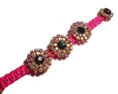 Neon Paracord Vintage Rhinestone Bracelet  by PureEssentia on Etsy, $90.00