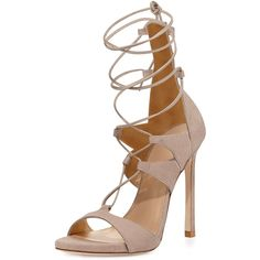 Stuart Weitzman Leg-Wrap Lace-Up Sandal ($520) ❤ liked on Polyvore featuring shoes, sandals, heels, high heels, sapatos, fawn, leather high heel sandal, stuart weitzman shoes, leather heel sandals and heels stilettos