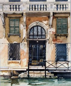 """Gated doorway and steps - Venice""  Watercolour by David Morris"