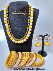 Buy Yellow and Off White Silk Thread Necklace set with matching bangles online in India.This includes Silk Necklace,Silk bangles,Silk thread Jhumkas with Pachi / Pacchi stud! Silk Thread Earrings Designs, Silk Thread Jhumkas, Silk Thread Bangles Design, Silk Thread Necklace, Silk Bangles, Beaded Necklace Patterns, Fabric Earrings, Thread Jewellery, Jewelry Patterns